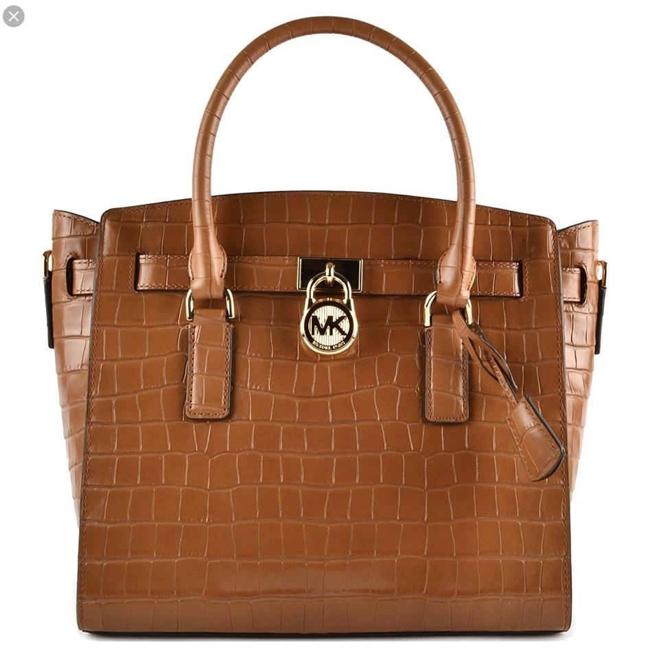 0fd101548598 Michael Kors Hamilton Large East-west Embossed Hamilton Large Acorn Leather  Satchel