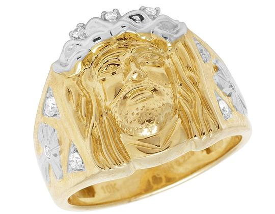 Preload https://item2.tradesy.com/images/jewelry-unlimited-10k-yellow-gold-mens-religious-christ-jesus-face-diamond-pinky-ring-22686556-0-1.jpg?width=440&height=440