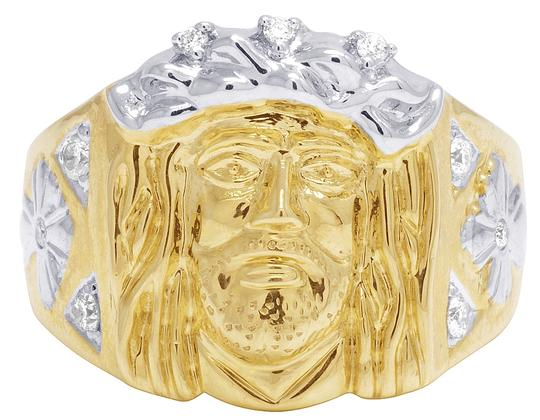 Jewelry Unlimited Mens 10K Yellow Gold Religious Christ Jesus Face Diamond Pinky Ring
