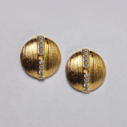 NY Collection Womens White CZ Round Stud Push Back Earrings Gold Sterling Silver Image 2