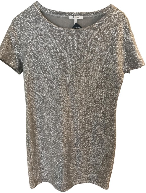 Preload https://item2.tradesy.com/images/three-dots-silver-lacquered-knit-sequin-t-shirt-short-cocktail-dress-size-10-m-22686601-0-1.jpg?width=400&height=650