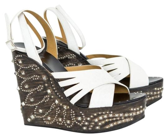 Preload https://img-static.tradesy.com/item/22686706/roberto-cavalli-white-leather-studded-wedges-size-eu-37-approx-us-7-regular-m-b-0-1-540-540.jpg