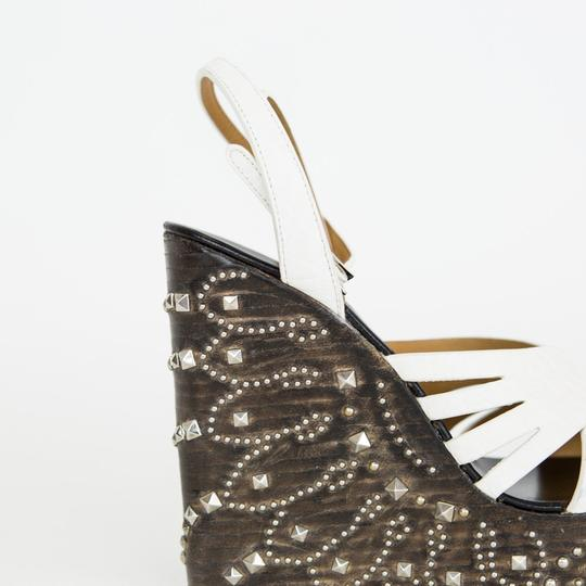 Roberto Cavalli Leather Wooden Studded White Wedges