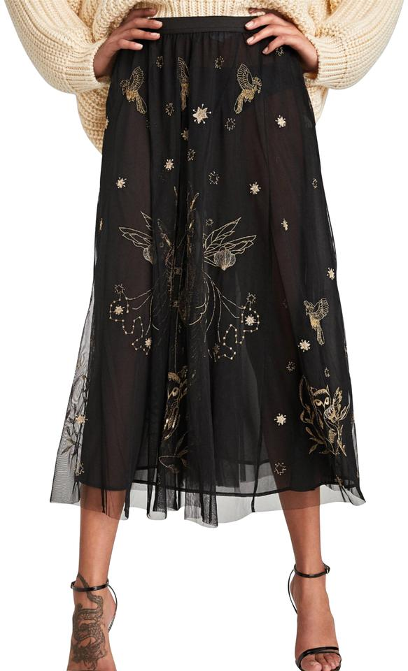decd103beb Zara Black Gold Sequin & Embroidered Tulle Skirt Size 8 (M, 29, 30 ...