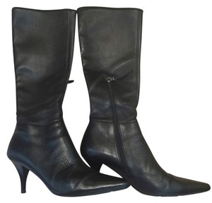 Prada Leather Leather Zip Up Black Boots