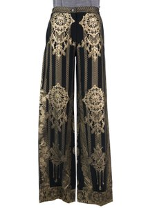 Roberto Cavalli Metallic Palazzo Wide Leg Pants Black