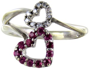 Other Woman's 14kt white gold diamond/colored stone hearts ring size-3.5