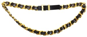 Chanel Chanel Vintage Black & Goldtone Chain Belt Sz 85