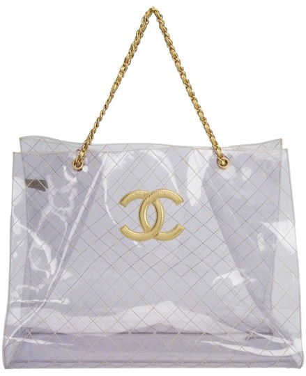 Preload https://img-static.tradesy.com/item/22686875/chanel-rare-vintage-1990s-xxxl-oversized-see-through-naked-gold-accent-pvc-and-lamb-leather-tote-0-3-540-540.jpg