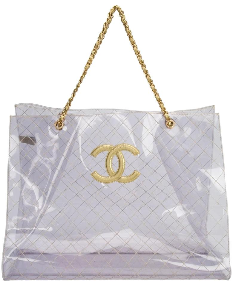 f5d3bb079 Chanel Tranpsarent Naked Rare Clear Tote in Gold Accent Image 0 ...