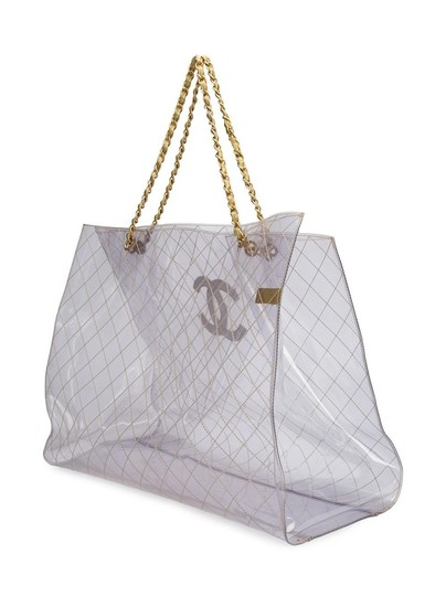 Chanel Tranpsarent Naked Rare Clear Tote in Gold Accent