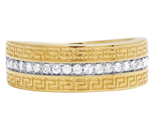 Jewelry Unlimited Mens 14K Yellow Gold 1 Row Diamond Fret Greek Key Design Ring Band .33