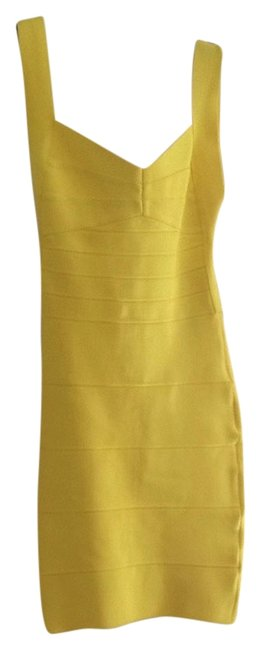 Item - Yellow Plunging Back Bandage Above Knee Night Out Dress Size 4 (S)