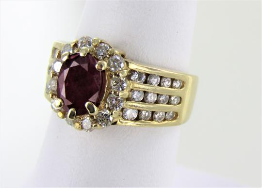 Other Woman's 14kt Yellow Gold Diamond/Ruby Cocktail Ring Size-6