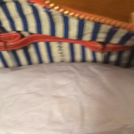 Rebecca Minkoff Morning After Mab Satchel in Coral Leather/ Coral-Cream Striped Fabric