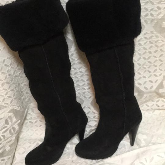 Charles David Over The Knee Warm Fuzzy Lining No Skid Sole Almond Shaped Toe BLACK Boots