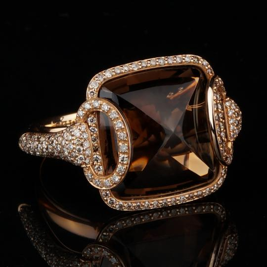 Hermès Hermes Smokey Quarts Fancy Diamond Cocktail Ring