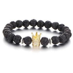 Queenesthershop 8MM Casual Volcanic Stone Crystal Crown Bracelet