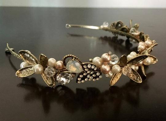 David's Bridal Gold Leaf Headband with Crystal and Pearl Accents Hair Accessory
