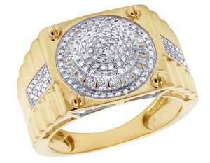 Jewelry Unlimited Mens 10K Yellow Gold Round Cluster Claw Step Shank Diamond Pinky Ring