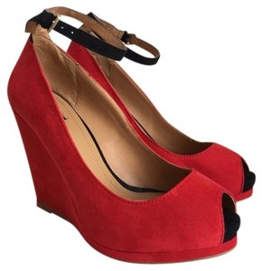 Zara Red Wedges