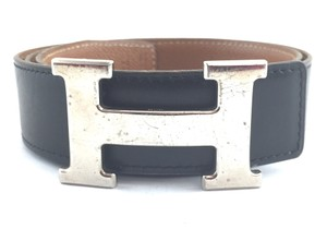 Herms #16198 32Mm Silver H Size 75 Reversible Belt leather