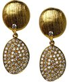 NY Collection Womens White CZ Dangle Drop Earrings Golden Sterling Silver Image 0
