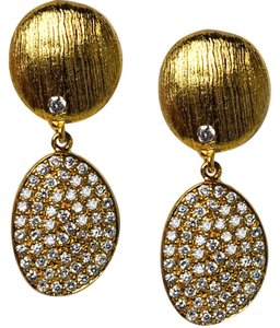 NY Collection Womens White CZ Dangle Drop Earrings Golden Sterling Silver