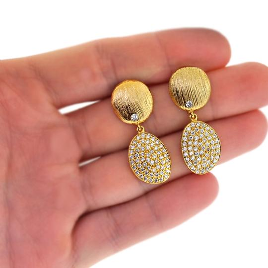 NY Collection Womens White CZ Dangle Drop Earrings Golden Sterling Silver Image 1
