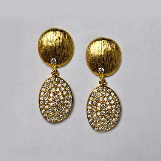 NY Collection Womens White CZ Dangle Drop Earrings Golden Sterling Silver Image 2