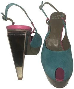 Versace Collection French Riviera Hot Mirror Heel Pink and turquoise Sandals