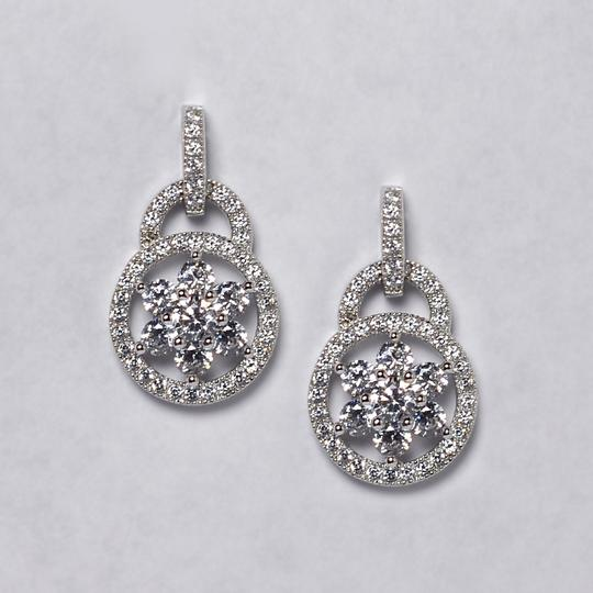 NY Collection Womens White CZ Cluster Lock Drop Dangle Earrings 925 Sterling