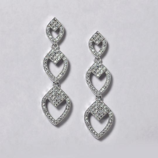 NY Collection Womens White CZ Push Back Drop Dangle Earrings 925 Sterling