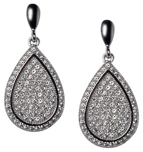 NY Collection Womens White CZ Push Back Dangle Teardrop Earrings 925 Sterling