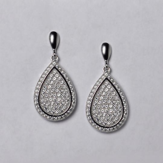 NY Collection Womens White CZ Push Back Dangle Teardrop Earrings 925 Sterling Image 2