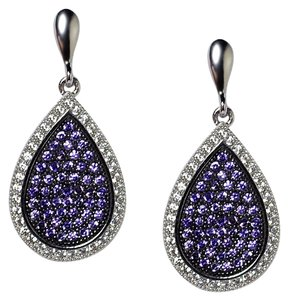 NY Collection Womens White Purple CZ Dangle Teardrop Earrings 925 Sterling Silver