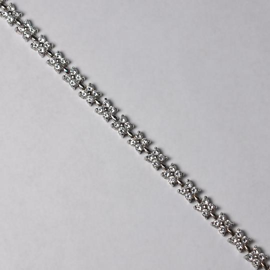 NY Collection Womens White CZ Flower Cluster Tennis Bracelet 925 Sterling Silver