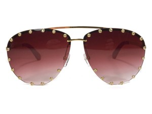 e339e4c6cf5b Louis Vuitton Gold and Red The Party Studded Aviator New Sunglasses ...