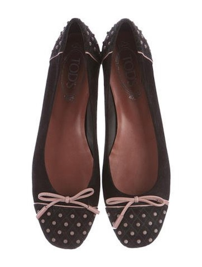 Tod's Ballet Leather Black with Pink accents Flats