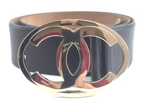 Chanel #16149 CC Extra Wide Gold Oval buckle leather Belt size 75/30