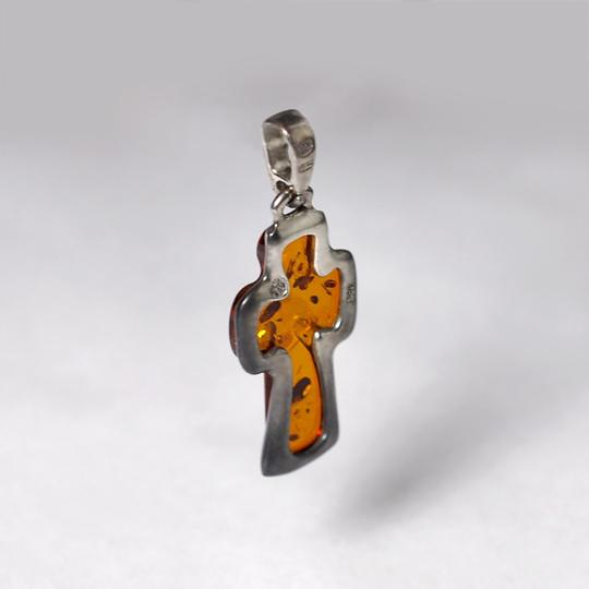 EDS Womens Amber Vintage Religious Cross Pendant 925 Sterling Silver