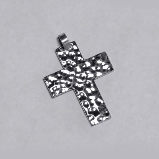 NY Collection Womens Mens Hammered Finish Religious Cross Pendant 925 Sterling