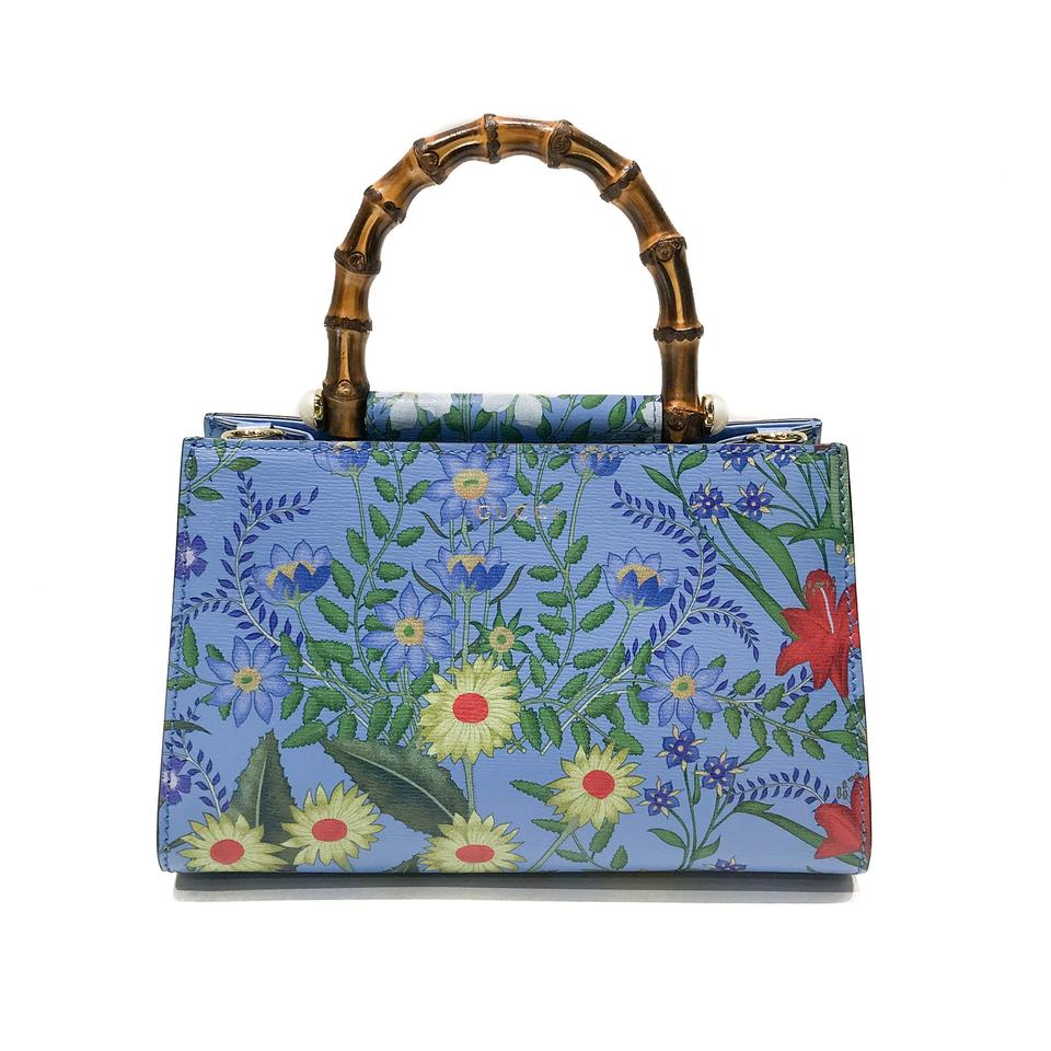 e58b75e51 Gucci Mini Bag Nymphaea New Flora Blue Leather Tote - Tradesy