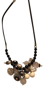 Unknown vintage look multibead necklace on black leather cord
