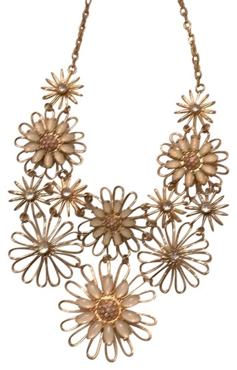 Preload https://item5.tradesy.com/images/gold-color-metal-with-vintage-look-floral-motif-cream-pink-and-clear-beading-necklace-22688124-0-1.jpg?width=440&height=440