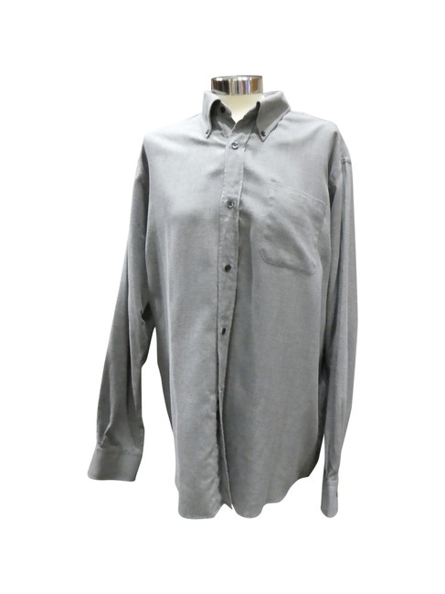 Herm S Gray Cotton Wool Blend Twill Long Sleeve Xl Men 39 S
