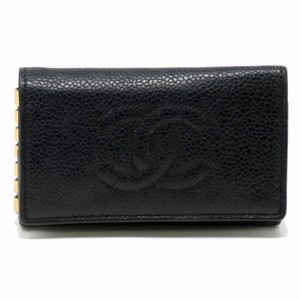 a137eb30859032 Chanel Black Signature Caviar Leather Cc Logo 6 Ring Key Case Pouch ...