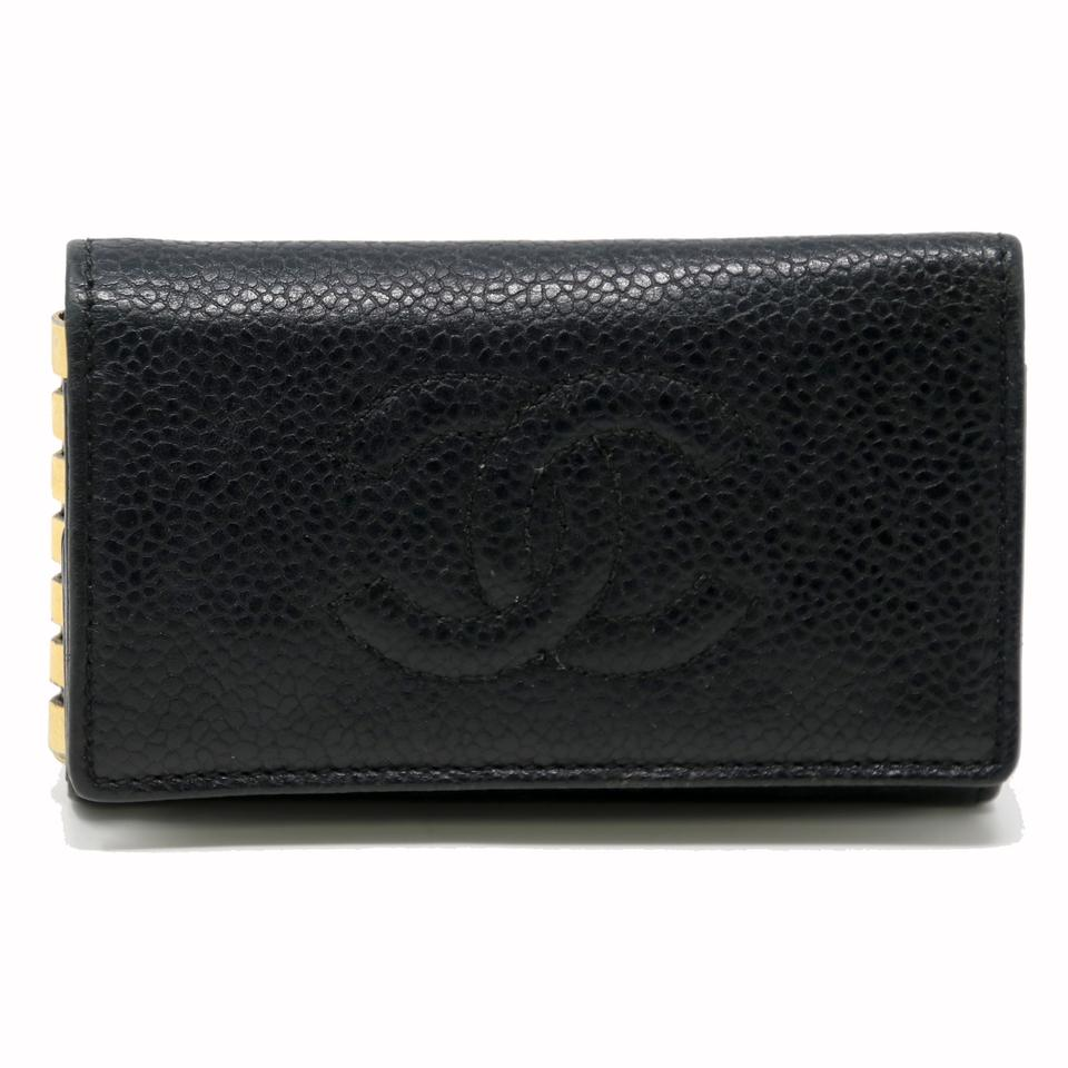 e46c2bdb4ddb24 Chanel Signature Caviar Leather CC Logo 6 Ring Key Case Pouch Wallet Image  0 ...