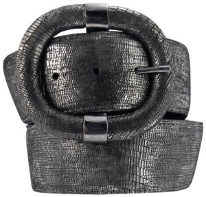 Sandy Duftler NWT Lizard Embossed Leather Belt w/ Elastic Inset