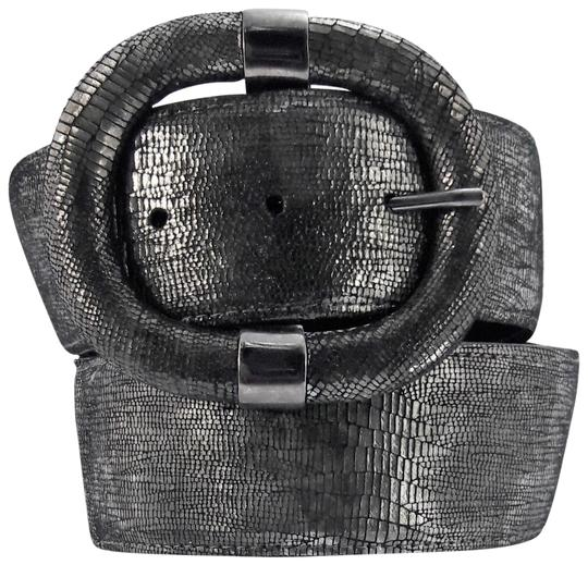 Preload https://item4.tradesy.com/images/sandy-duftler-gray-and-black-lizard-embossed-leather-w-elastic-inset-belt-22688253-0-1.jpg?width=440&height=440